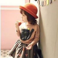 Mũ phớt bé gái dáng tròn thời trang, họa tiết đơn giản, cá tính