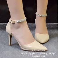 Giày cao gót mũi nhọn dây đính hạt kem-GX241