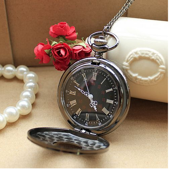 Đồng hồ quả quýt Đen mặt chữ số La Mã