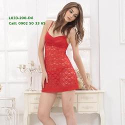 L033 Váy ngủ ren mềm mịn quyến rũ phòng the 3 màu : đỏ , trắng, đen