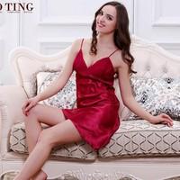 Đầm ngủ hai dây đỏ rượu vang sexy-126