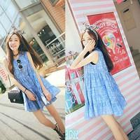 Đầm bầu suông kiểu dáng thêu ren hoa nhí trẻ trung, thời trang-D2987