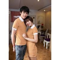 HÀNG LOẠI I CAO CẤP - Sét đầm sọc nữ + áo thun nam