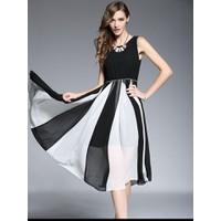 Đầm Voan Maxi Phối 2 Màu Tuyệt Đẹp