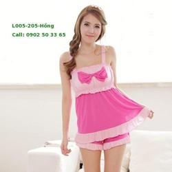 L005 Set quần áo có đệm mút nơ hồng dễ thương thun mềm mát mịn siêu iu