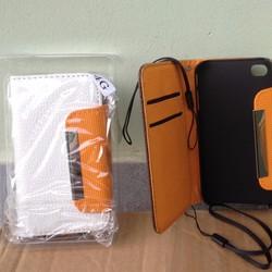 Bao da Iphone 4, 4G, 4GS dạng bóp ví nhiều ngăn cài ngang