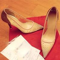 Giày lưới Louboutin đính hạt