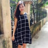 Đầm xuông A kẻ ô vuông