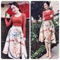 Set Váy  Xòe Hoa + Áo Thun Tay Dài
