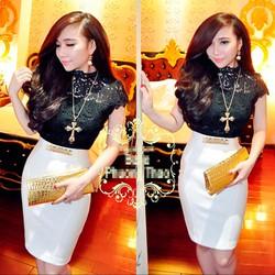 Set áo ren đen hoa nổi chân váy trắng giống bella - SET609-47