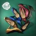 Giày cao gót chất lông ánh nhũ - gót nhọn 7cm