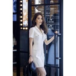 Đầm Đen Cổ Vest Dây Kéo 4 Túi Ngọc Trinh VD271