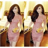 Đầm Ren Hồng Body Tay Lỡ Đẹp Như Belle 2346 - VD192