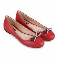 Giày búp bê đỏ đính nơ xinh