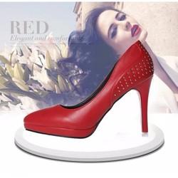 Giày cao gót mũi nhọn, màu đỏ cá tính - G016