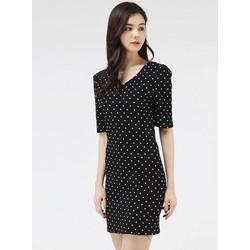 Đầm Ôm Chấm Bi Cổ Tim Tay Lỡ #61012