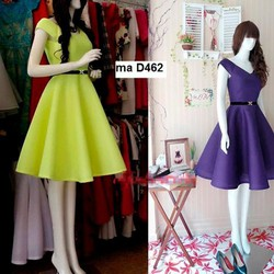 Đầm xòe cổ V đơn giản cực xinh D462