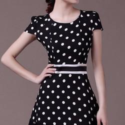 Đầm Xòe Chấm Bi Viền Ren Mã sản phẩm: R45609