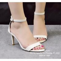 Giày cao gót quai ngang mảnh màu trắng-GX248
