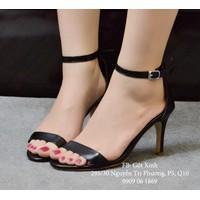 Giày cao gót quai ngang mảnh màu đen-GX247