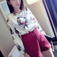 Áo dài tay hình cô gái sành điệu chất lụa phi bóng nhẹ nhàng-116
