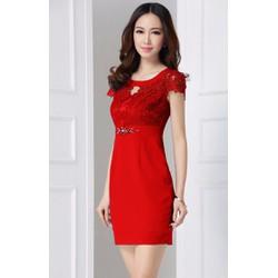 Đầm Thun Phối Ren Sang Trọng Mã sản phẩm: MD1735