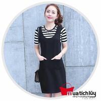 MTL - Set Đầm yếm + Áo thun sọc