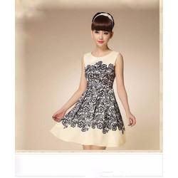 Đầm Xòe Họa Tiết Ren Mã sản phẩm: MD1774