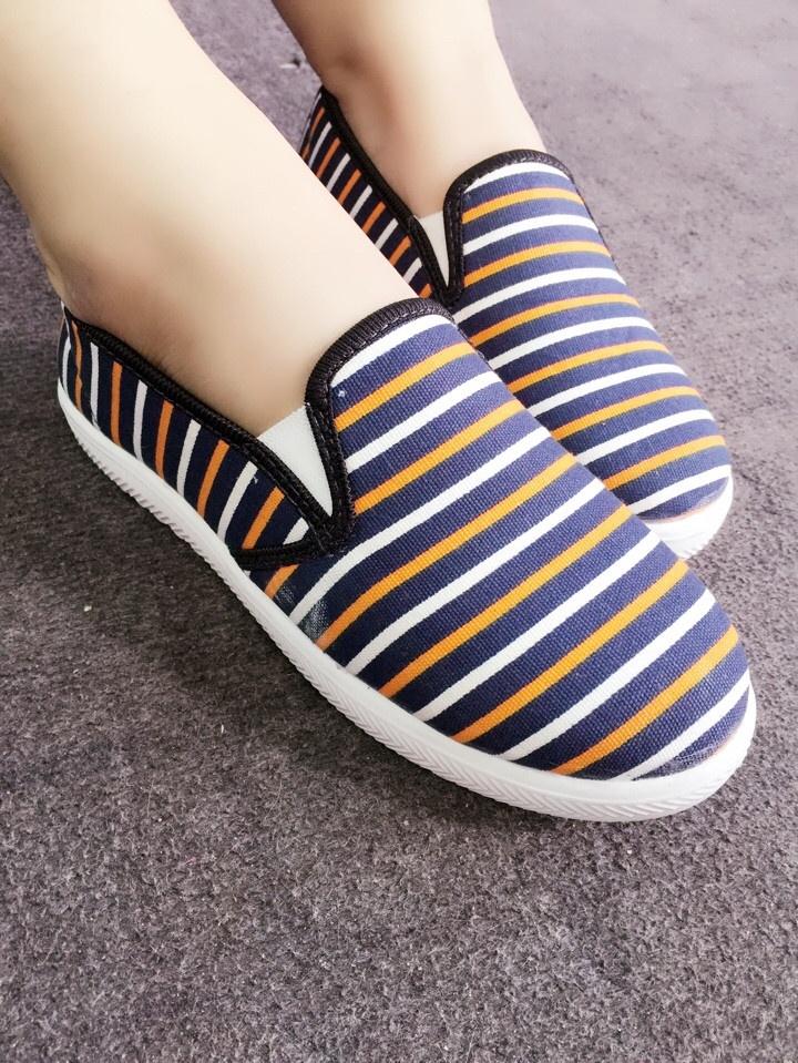 Giày slip on sọc xanh phối cam VV124 2