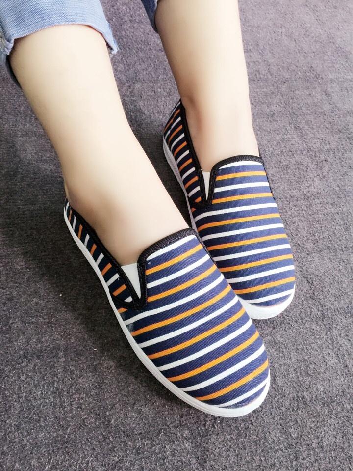 Giày slip on sọc xanh phối cam VV124 1