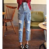Quần jeans yếm rách Mã: QD671 - XANH NHẠT