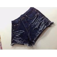 Quần short jean lưng cao xước