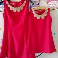 Đầm đôi mê bé cổ đính hạt dễ thương HGS 78