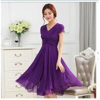 Đầm maxi voan xòe nhún eo váy dài ,ngắn tay nữ tính-D2993