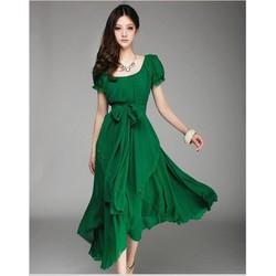 Đầm maxi voan suông xòe cột eo váy dài ,ngắn tay nữ tính-D2992