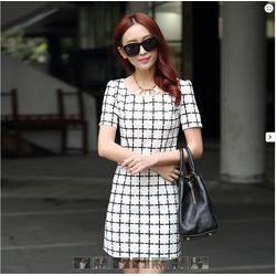 Đầm suông họa tiêt o vuông-TH08357