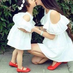 Đầm đôi trắng bèo cách điệu cho mẹ và bé xinh HGS 88