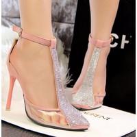 Giày cao gót chữ T pha lê