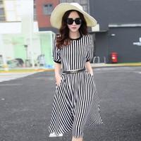 Đầm Sọc Vintage Hàn Quốc
