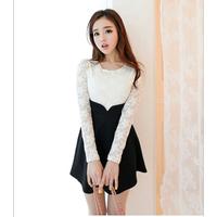 Đầm ren phối váy đen tay dài