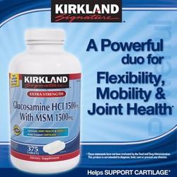 Kirkland Glucosamine HCl 1500mg MSM 1500mg chai 375 viên trị đau khớp