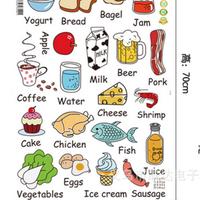 Decal dán tường Bộ các loại thức ăn