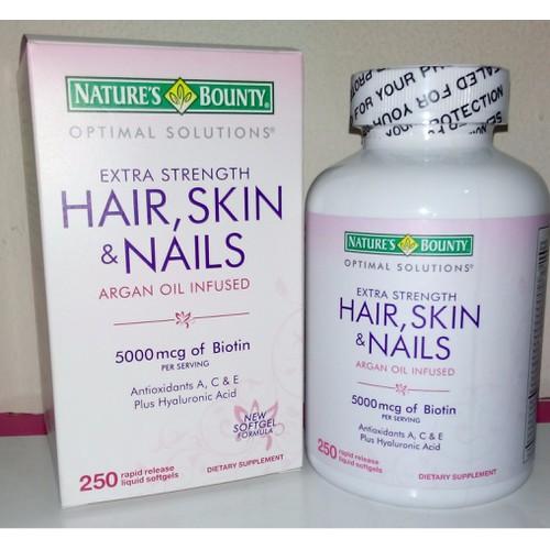 Hair skin and nails 5000 mcg of biotin 250 viên đẹp da, chắc móng từ mỹ
