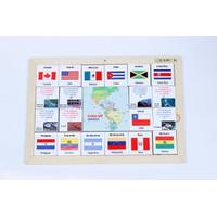 Đồ chơi gỗ xếp hình nhận biết cờ các nước Châu Mỹ