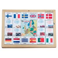 Đồ chơi gỗ xếp hình nhận biết cờ các nước Châu Âu