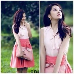 Set váy kaki hồng áo cổ nơ