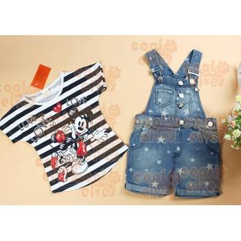 Bộ yếm jean bé gái sọc Mickey