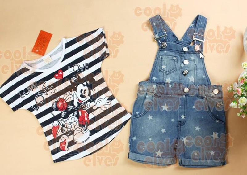 Bộ yếm jean bé gái sọc Mickey 1