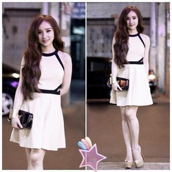 Đầm yếm viền đen khoét eo H2 VD173