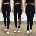 Quần jeans đen 2 da lưng cao